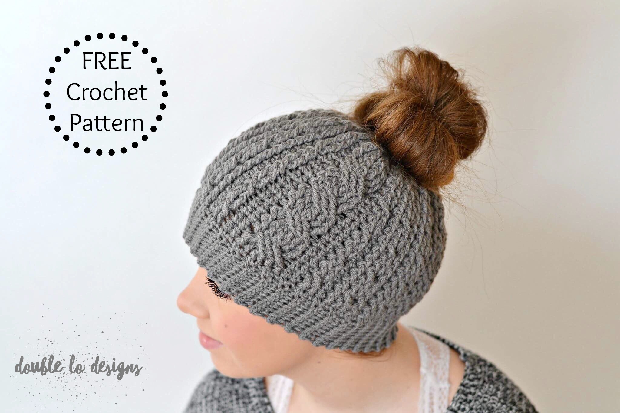 Crochet Messy Bun Hat : Free Crochet Pattern - Crochet Cabled Messy Bun Hat (Adult Sizes ...