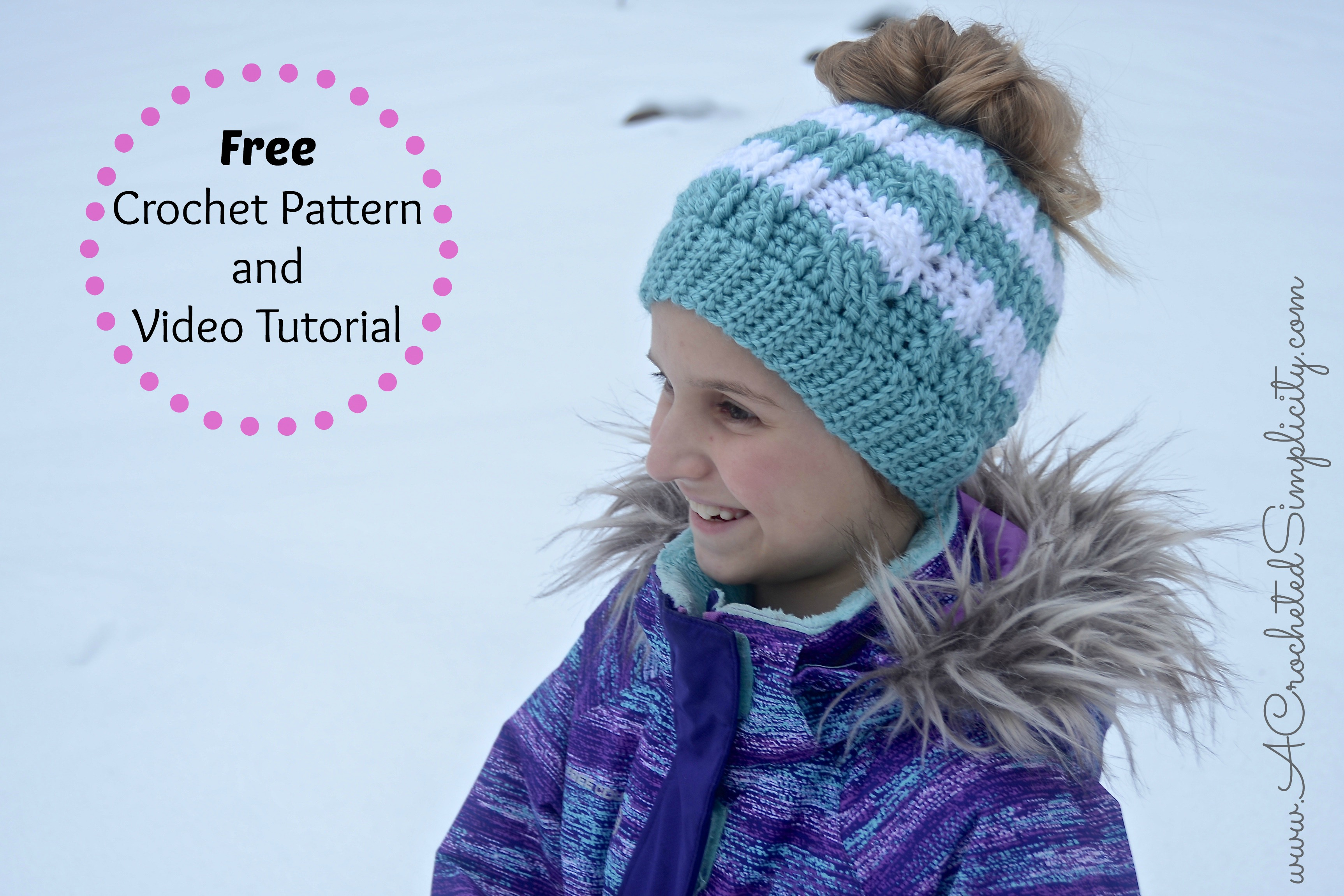 Free crochet pattern crochet cabled messy bun kids sizes free crochet pattern crochet cabled messy bun kids sizes video tutorial included a crocheted simplicity bankloansurffo Images