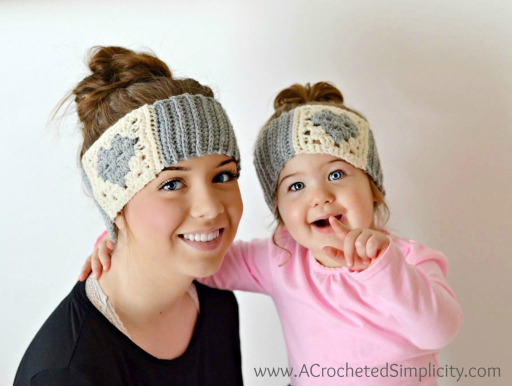 Free Crochet Pattern - Granny Heart Headwarmer by A Crocheted Simplicity