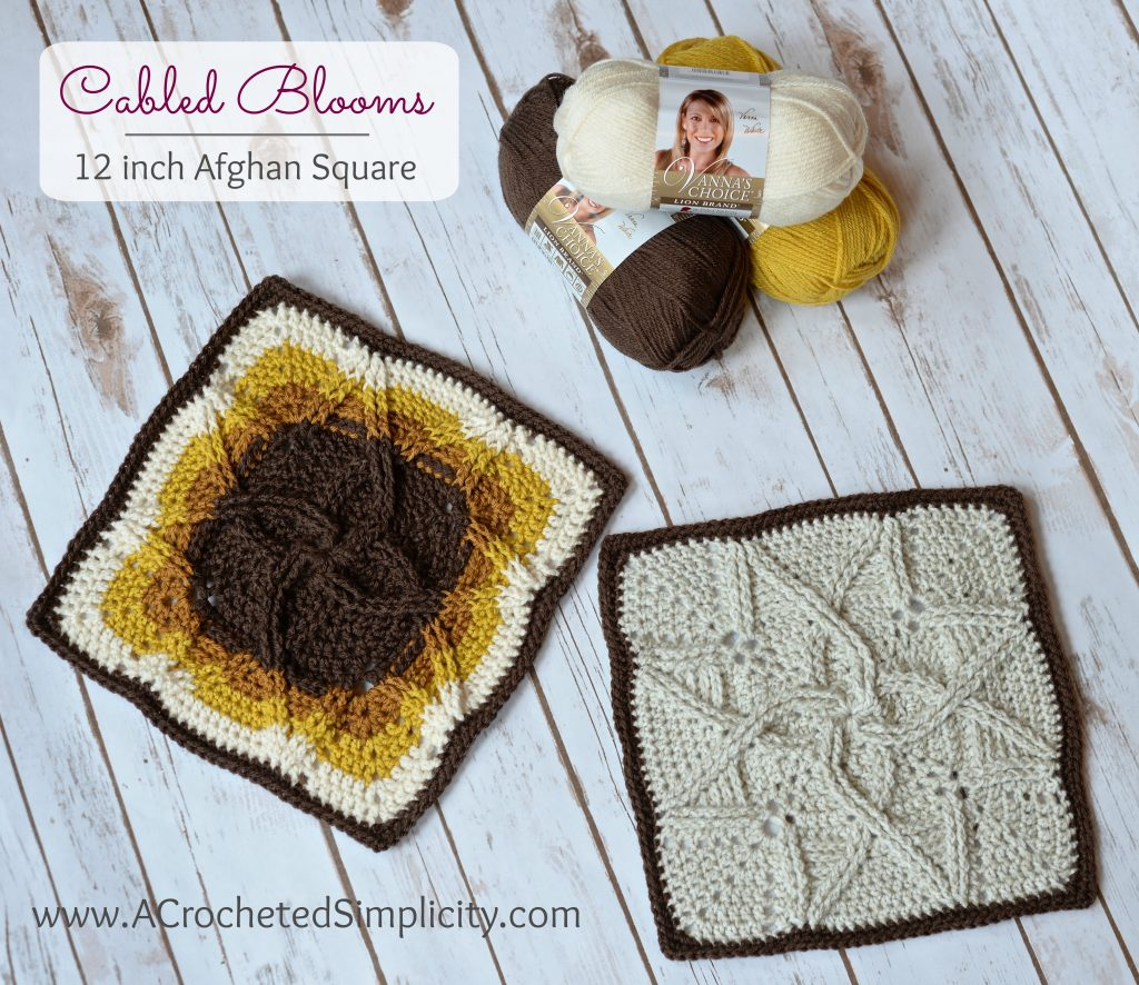 Free Crochet Pattern - Cabled Blooms 12 inch Afghan Square by A Crocheted Simplicity